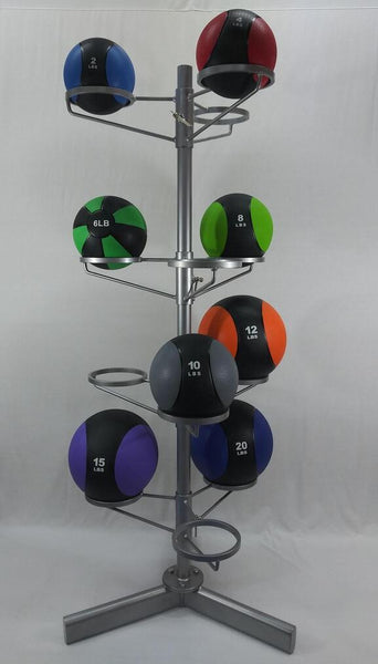 Full set of PowerFit Two Color Medicine Balls with Vertical Medicine Ball Rack