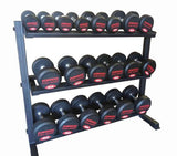Set of PowerFit Pro Style Dumbbells 5lb-50lb with Three Tier Dumbbell Rack - LIMITED SUPPLIES!- Pre-Order