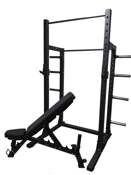 PowerFit Heavy Duty Squat Rack and Adjustable Pro Bench Package