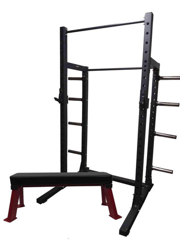 PowerFit Heavy Duty Squat Rack and Pro Grade Flat Bench Package