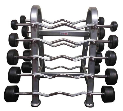 PowerFit Fixed weight EZ Curl barbell with Rack