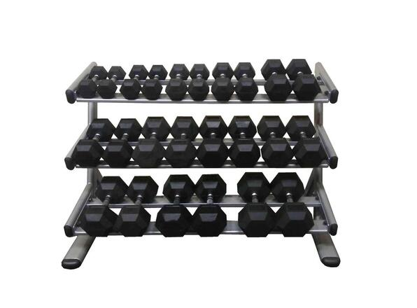 PowerFit Commercial Silver Three Tier Dumbbell Rack w/ 8lb-60lb Dumbbell set