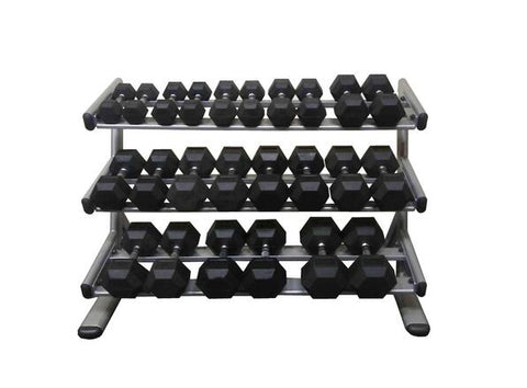 PowerFit Commercial Silver Three Tier Dumbbell Rack w/ 8lb-60lb Dumbbell set-FREE SHIPPING