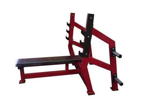 PowerFit Equipment Flat Olympic Chest Press Bench with Storage Rack