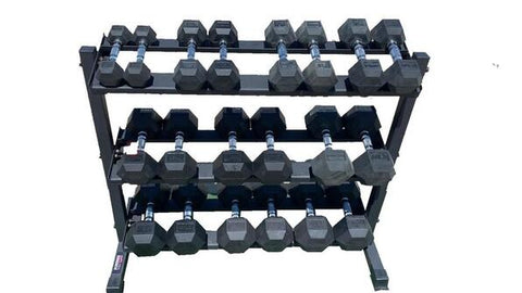 Set of PowerFit Rubber Hex Dumbbells 5lb-50lb with Three Tier Dumbbell Rack