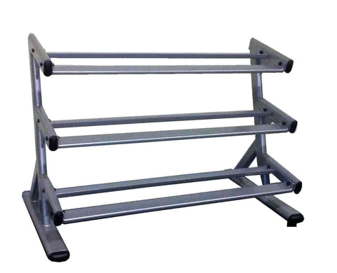 PowerFit Commercial Grade Silver Three Tier Dumbbell Rack w/ 5lb-50lb Pro Style Dumbbell set - LIMITED SUPPLIES!