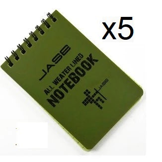 "Set of 5 All Weather Rain Proof 5"" x 3"" Notebooks - Peritian"