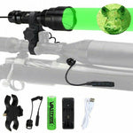 DELAYED 5000 Lumen Led Flashlight White/Green/Red Tactical Hunting Rifle Lantern outdoor Portable Torch+18650+Charger+Switch+Rfile Mount - Peritian