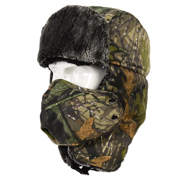 Winter Camo Thermal Fleece Bomber Hat with Face Mask - Peritian
