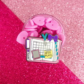 """Plan with Me"" Pink Planner Enamel Pin"