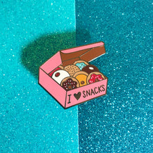 "Load image into Gallery viewer, ""I Love Snacks!"" Anti-Diet Mental Health Enamel Pin"