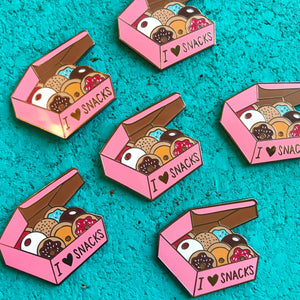 """I Love Snacks!"" Anti-Diet Mental Health Enamel Pin"