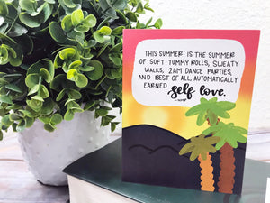 """Body Positive Summer Vibes"" Illustrated Greetings Card"