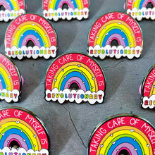 Load image into Gallery viewer, Pride Self Care and Mental Health Rainbow Enamel Pin