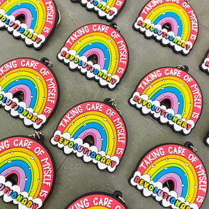 Pride Self Care and Mental Health Rainbow Enamel Pin