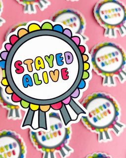"""Stayed Alive"" RAINBOW Mental Health Medal Stickers"