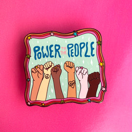 """Power to the People"" Anti-Racism Enamel Pin, Collab with DoodlebyMeg"