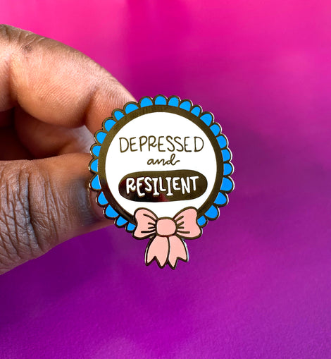 Depressed and Resilient Medal Mental Health Enamel Pin