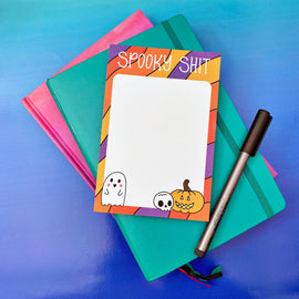 "Halloween ""Spooky Shit"" Illustrated Notepad"