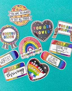 Rainbow Variety Sticker Set of 10 Mental Health Stickers