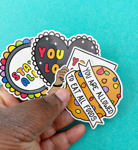Rainbow Affirmation Variety Sticker Set of 4 Mental Health Stickers