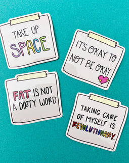 Body Positive Notes Sticker Set of 4 Mental Health Stickers
