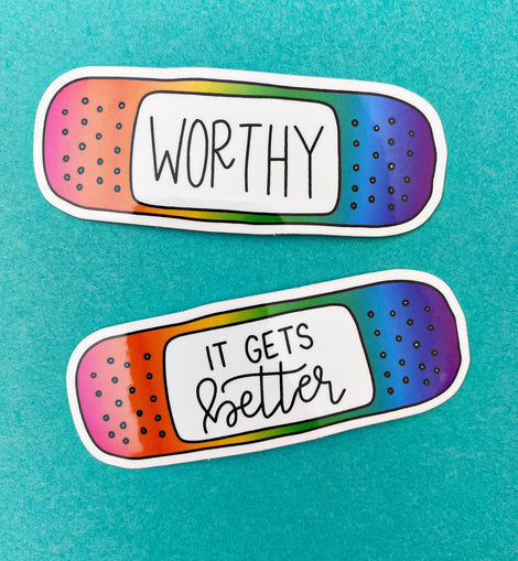 Rainbow Bandaid Sticker Set of 2 Mental Health Stickers