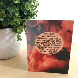 """This Year I Will"" Illustrated Mental Health Greetings Card - Orange"