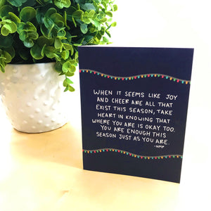 """You Are Enough This Season"" Illustrated Mental Health Greetings Card"