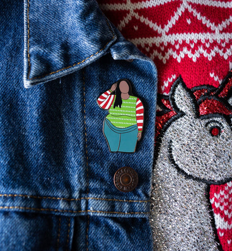 Ugly Christmas Sweater - Body Positive Christmas Girl Enamel Pin