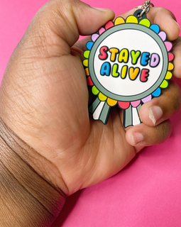 """Stayed Alive"" Mental Health Rainbow Keychain"