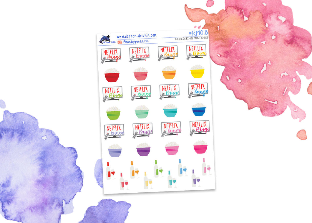 TV Binge Mini Planner Stickers