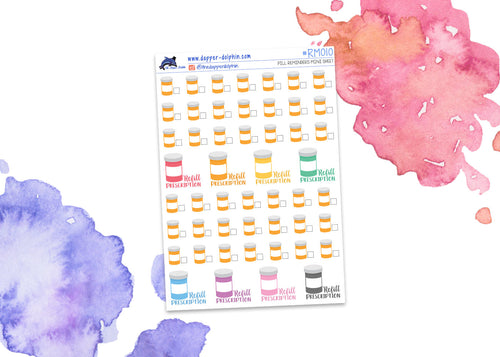 Pill Prescription Reminder Mini Planner Stickers