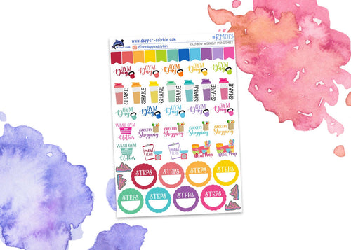 Rainbow Workout Mini Planner Stickers