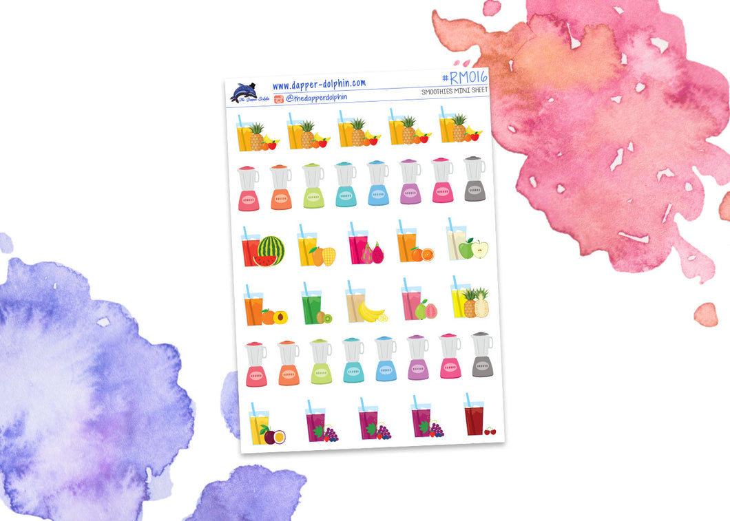Assorted Smoothies Mini Planner Stickers
