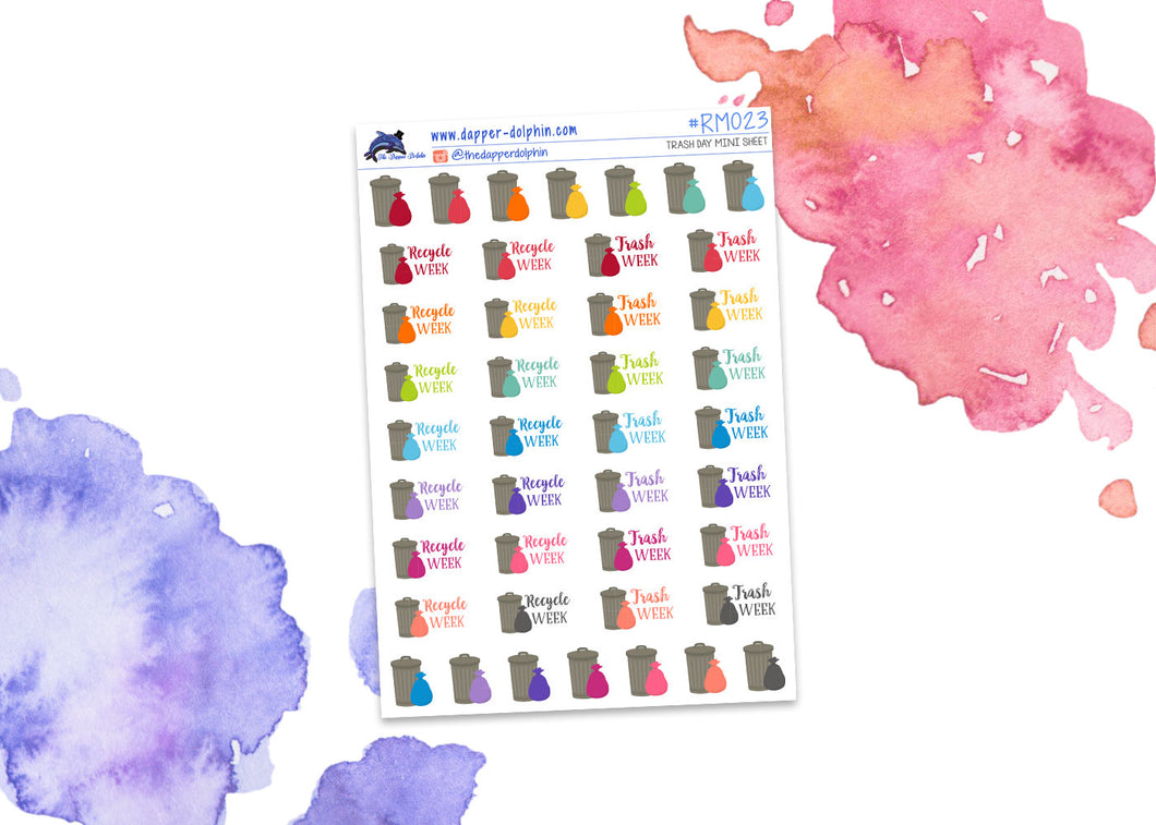 Trash and Recycling Mini Planner Stickers