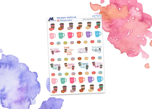 Coffee and Donuts Mini Planner Stickers