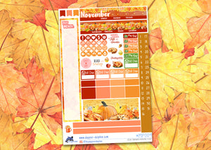 November Give Thanks Monthly Planner Sticker Kit for Personal Planners