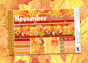 November Give Thanks Monthly Planner Sticker Kit for EC Planners