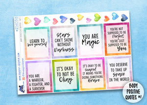 Self Care, Mental Health, Body Positive Watercolor Sticker Collection