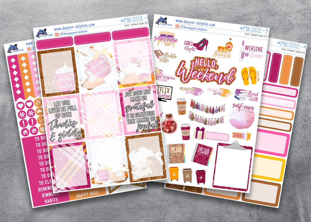 November Thanksgiving Full Planner Sticker Kit