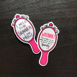 Body Positive Mental Health Mirror Quote Stickers
