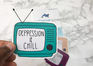 Depression and Chill Mental Health Coping Skill Stickers