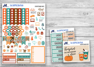 Pumpkin Spice Latte Full Weekly Planner Sticker Kit for Standard Planners