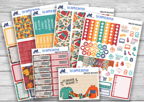 Sweater Weather Full Weekly Planner Sticker Kit for Standard Planners