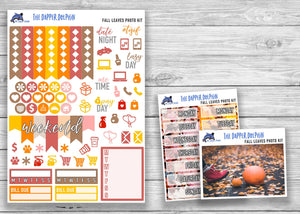 Fall Leaves Photo Full Weekly Planner Sticker Kit for Standard Planners