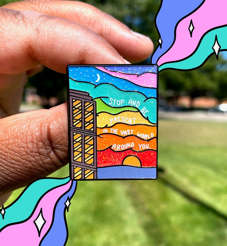 Mindfulness Glitter Rainbow Sunset Mental Health Enamel Pin