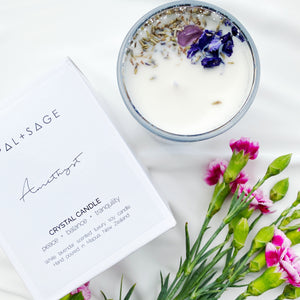 Amethyst Crystal Candle - White Lavender