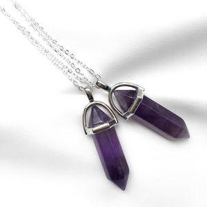 Silver Amethyst Point Necklace