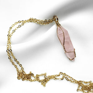 Wire Twisted Gold Rose Quartz Point Necklace